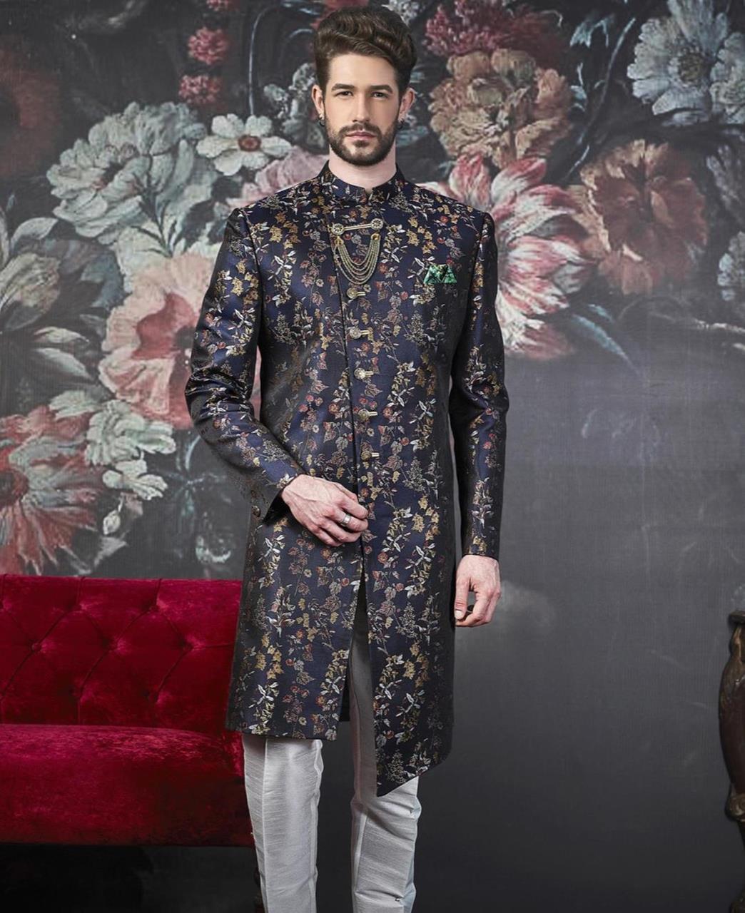 Embroidered Jacquard Navyblue Kurta Pajama