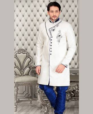 Beads Jacquard White Mens Sherwani