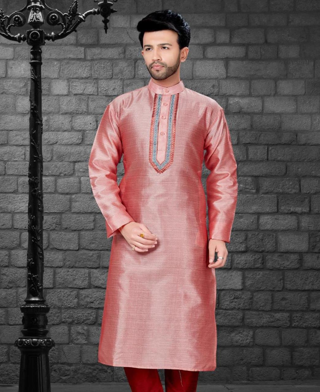Embroiderd work Silk PeachPuff Kurta Pajama