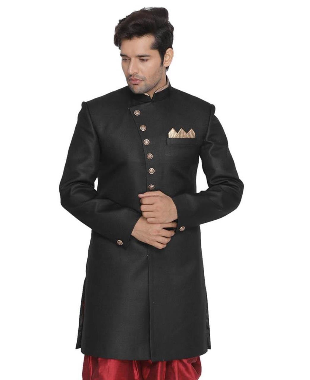 Plain Jute Black Kurta Pajama