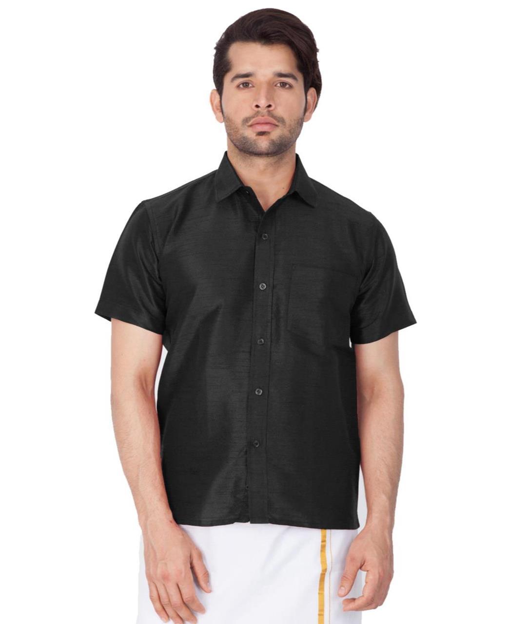 Plain Cotton Black Dhoti