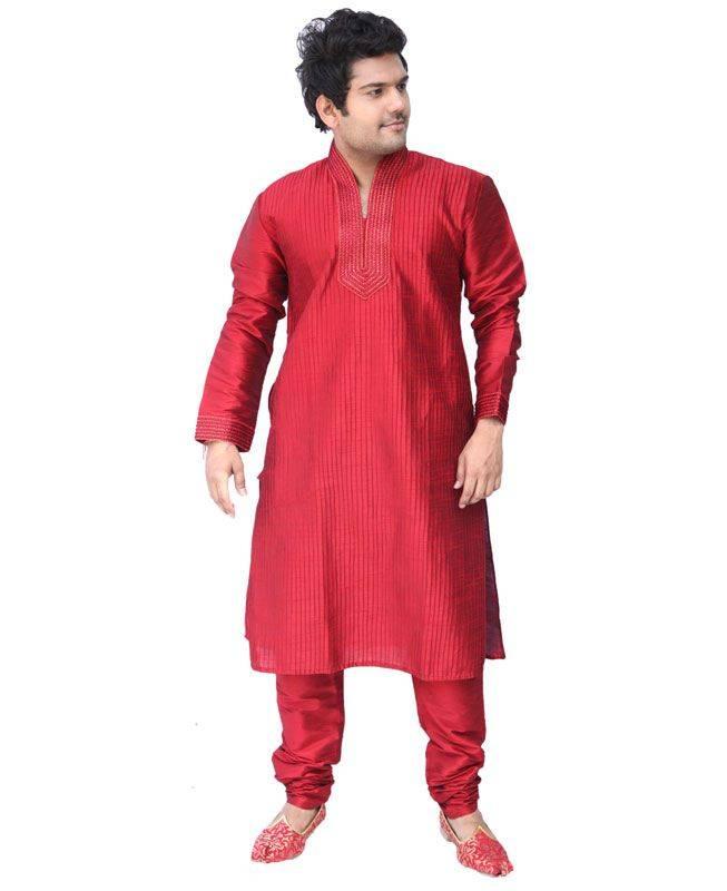 Lace Silk Red Mens Kurta Pajama