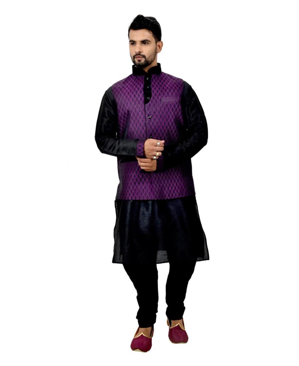 Button Work Art Silk Black Waist Coats