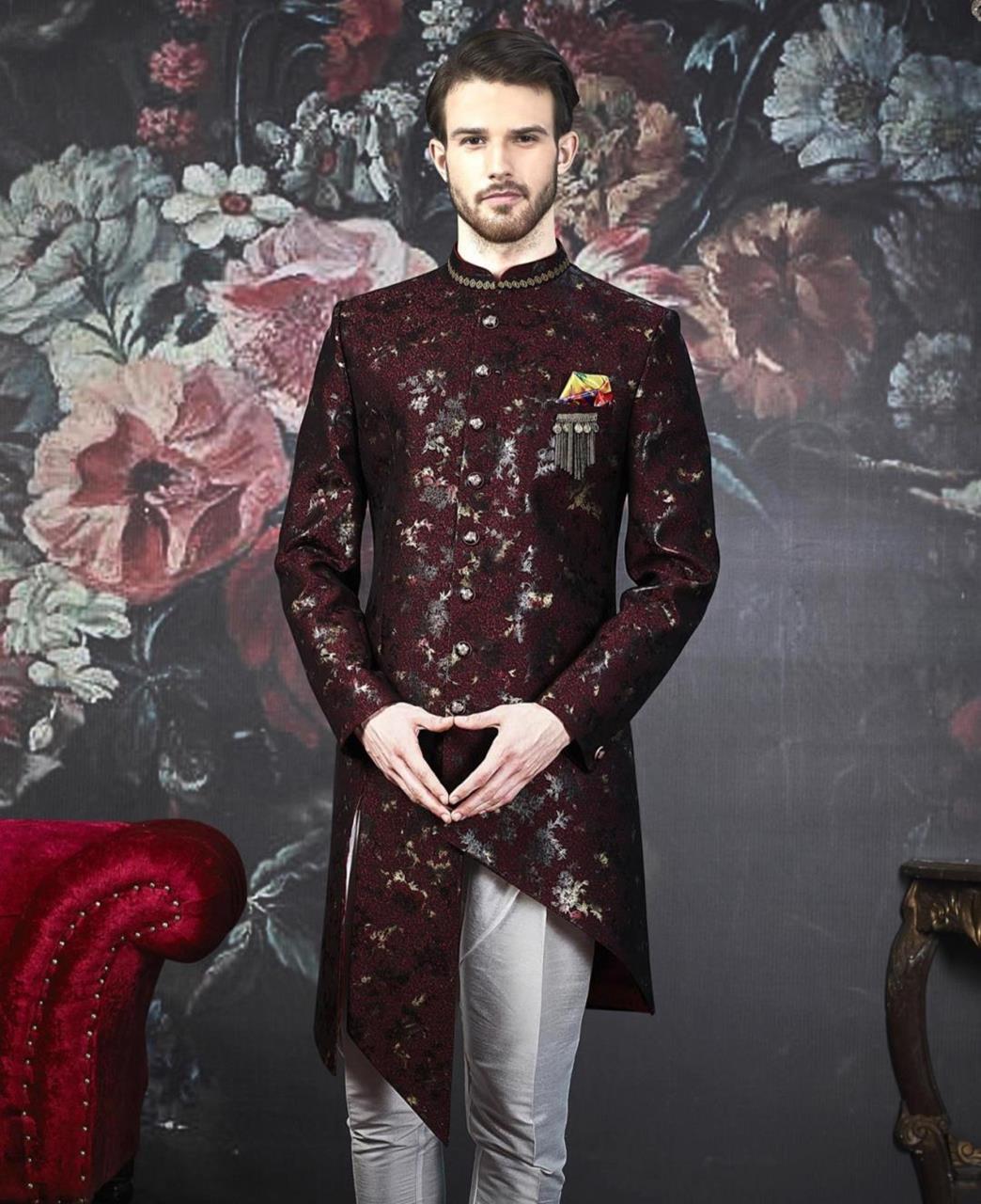 Embroidered Jacquard Maroon Kurta Pajama