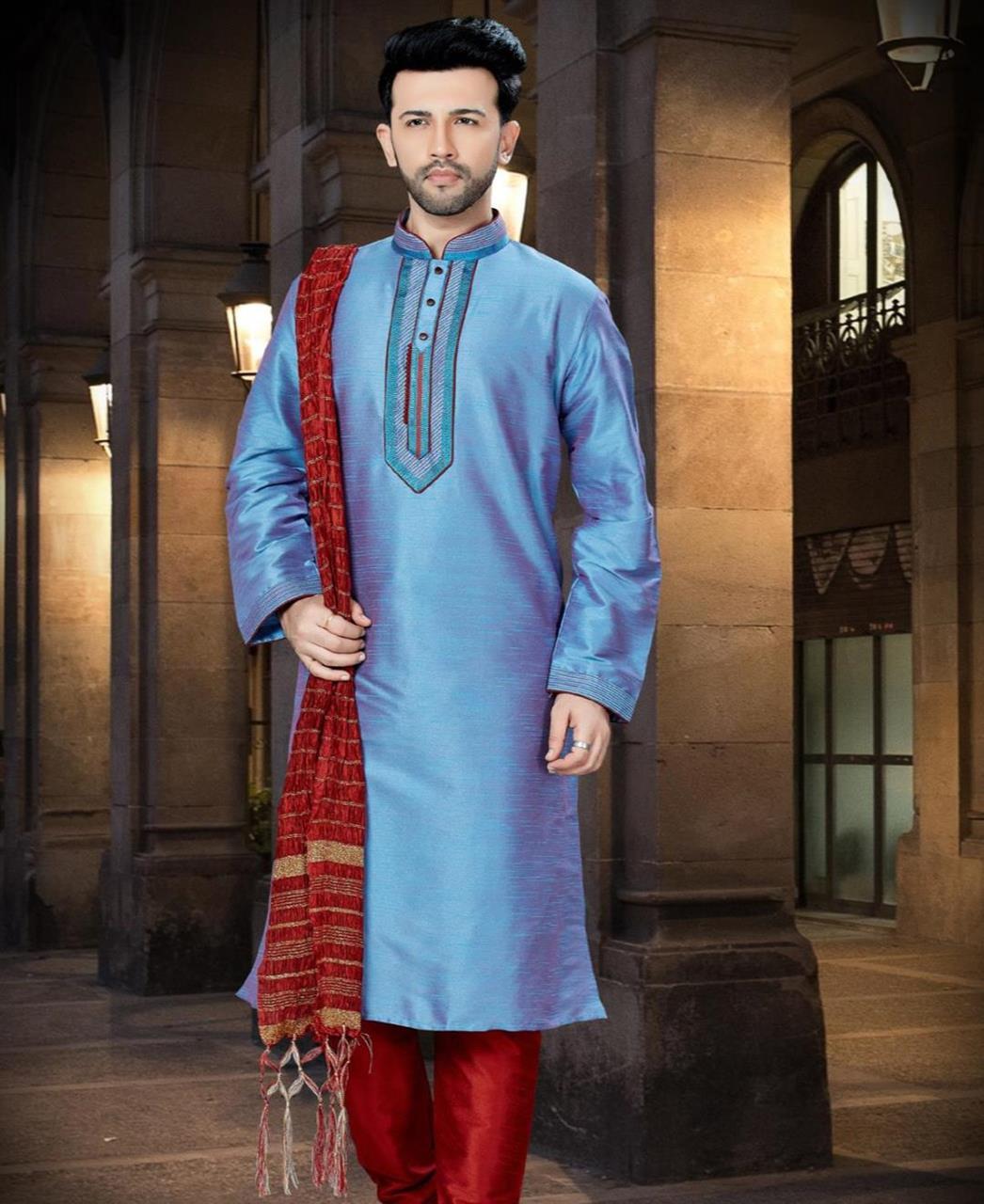 Plain Dupion Silk Blue Sherwani