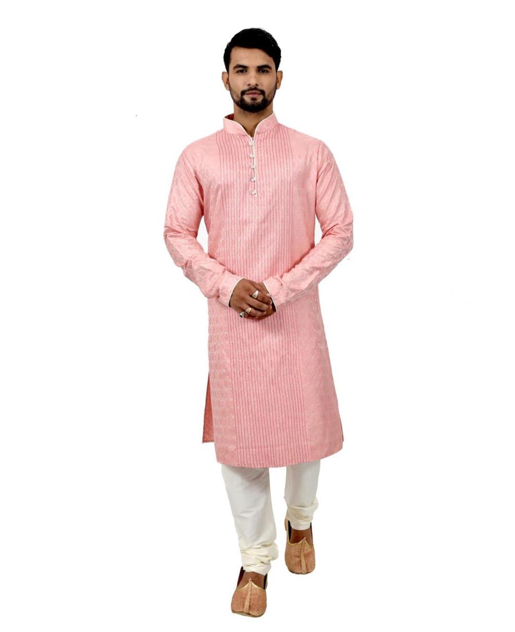 Button Work Silk Pink Kurta
