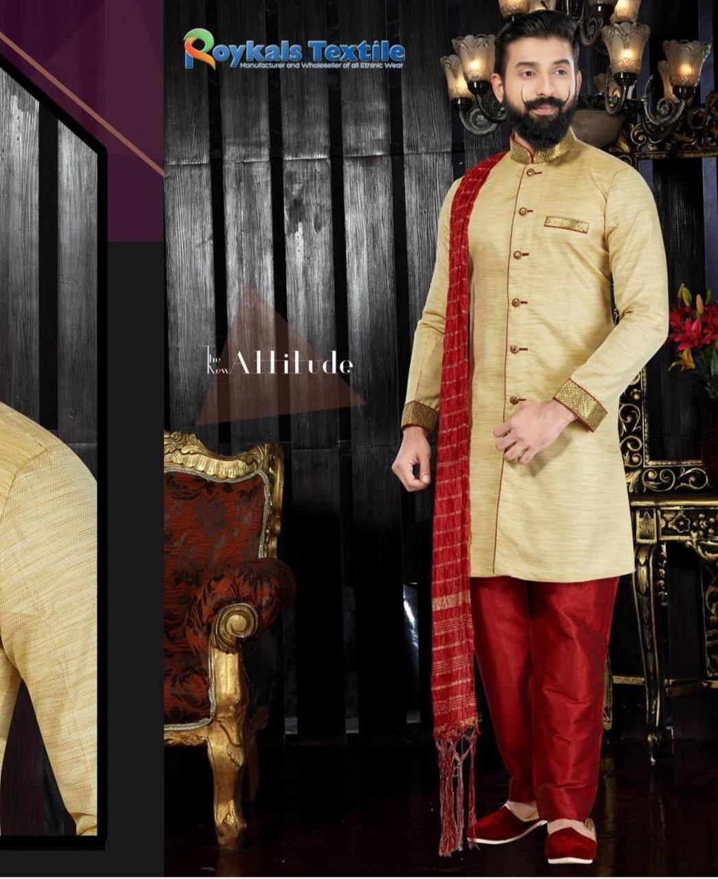 Embroidered Silk Gold Sherwani
