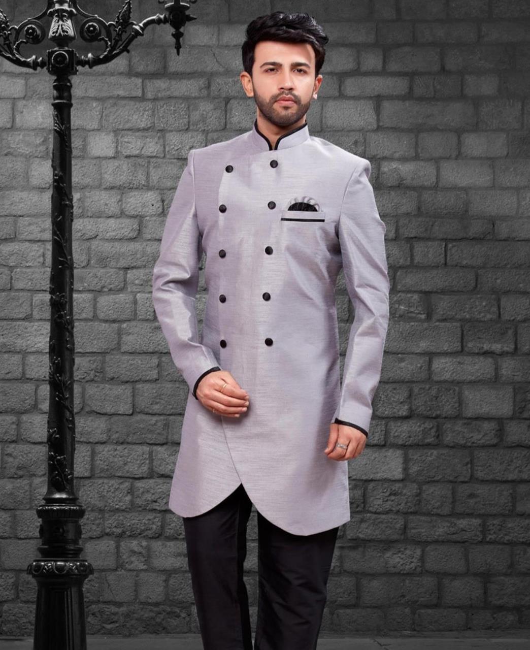 Plain Silk Gray Kurta Pajama