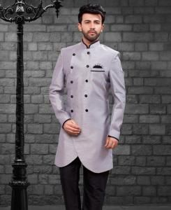 Plain Silk Gray Kurta Pajama