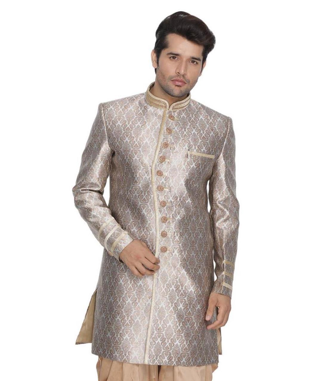 Jacquard Cotton Gold Kurta Pajama