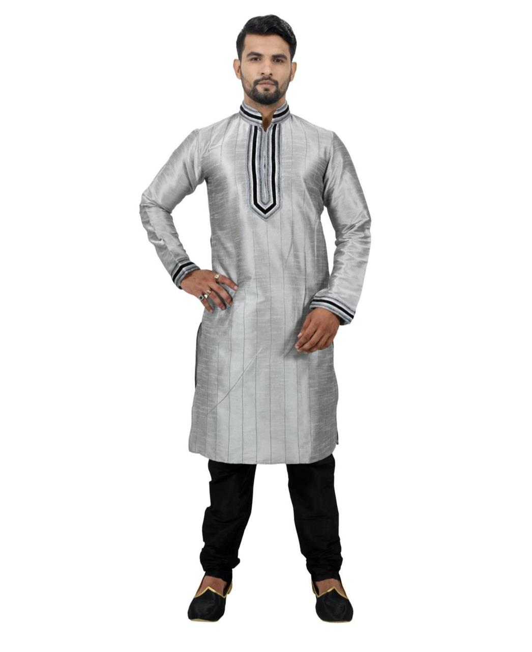 Cord Work Art Silk Gray Kurta