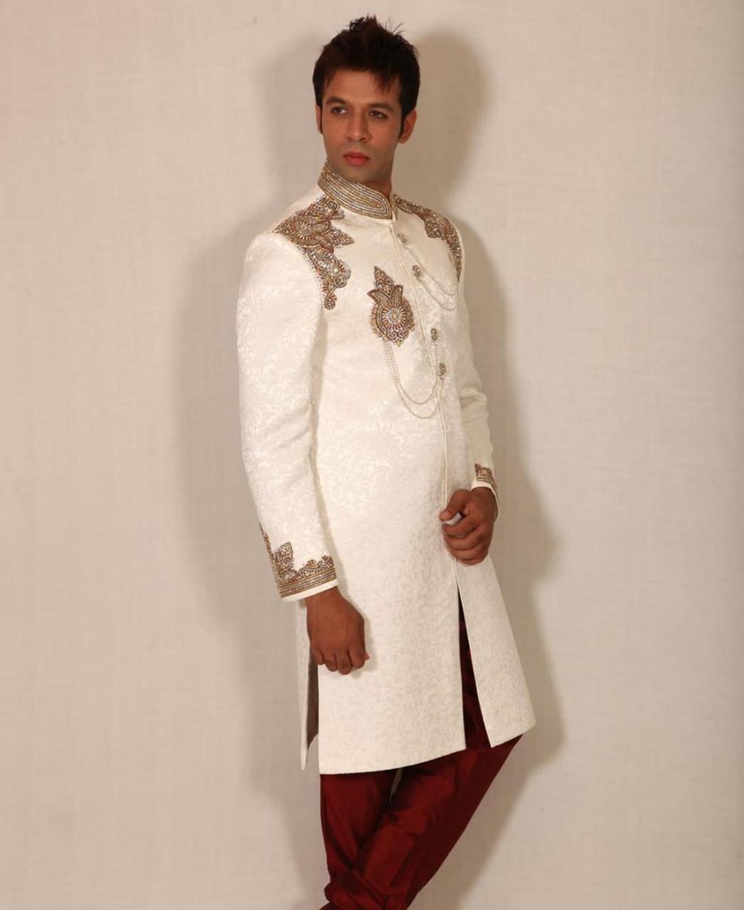 Embroidered Silk White Sherwani