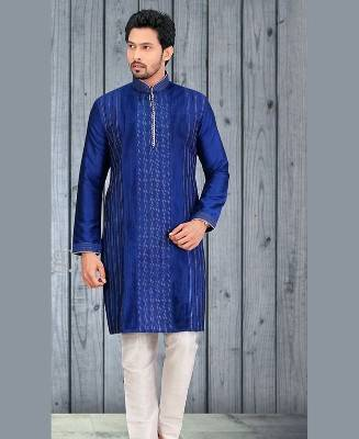 Plain Dupion Silk Blue Mens Kurta Pajama