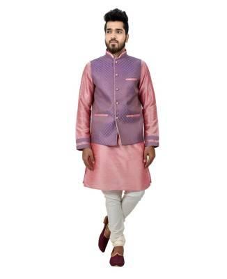 Printed Art Silk Pink Waist Coats