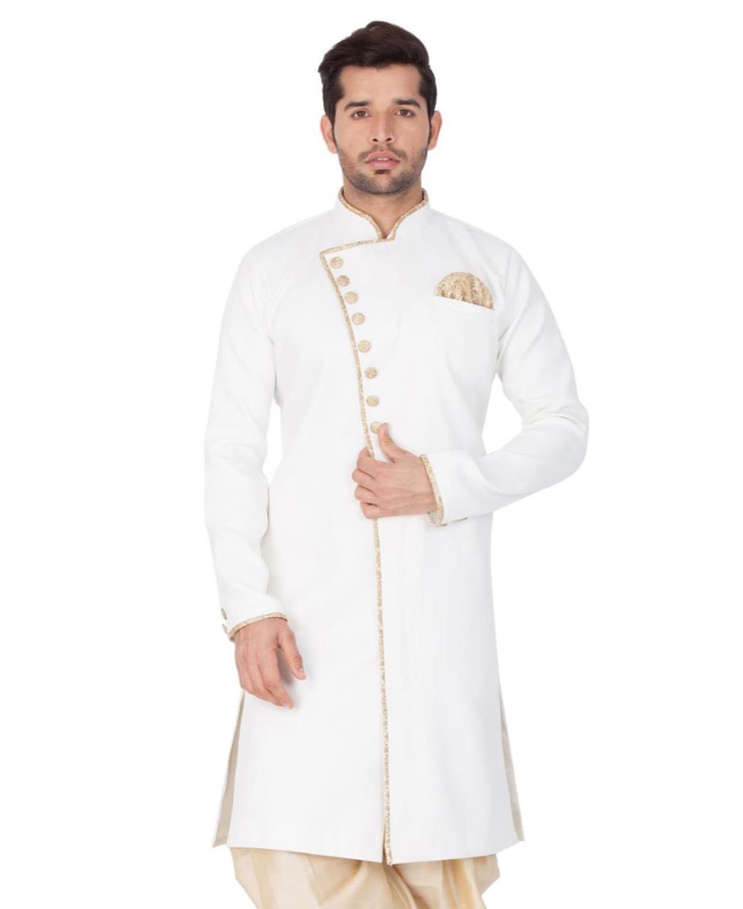 Plain Blended Cotton White Kurta Pajama