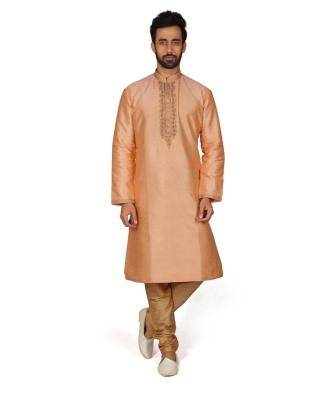 Embroidered Silk Orange Kurta Pajama