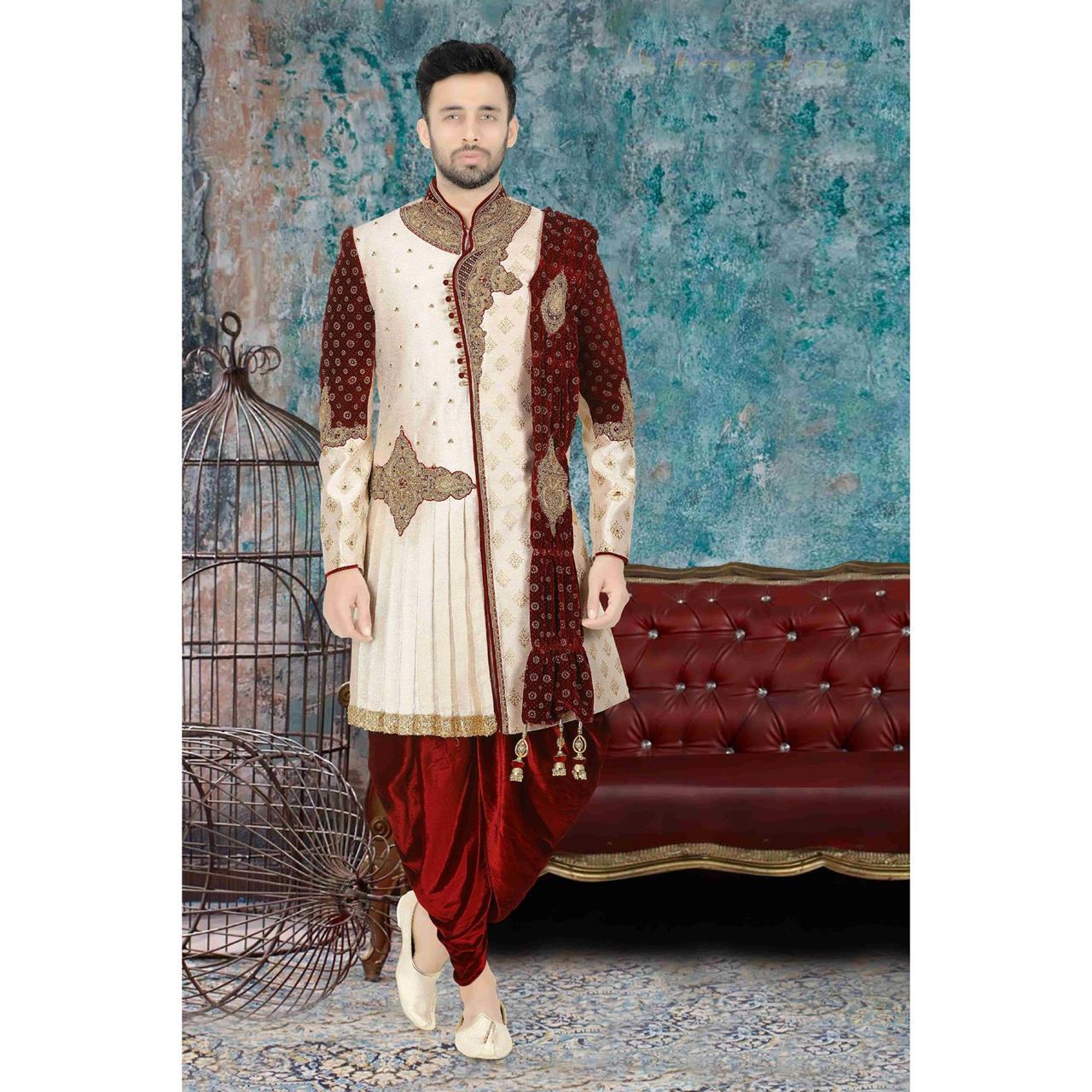 Jacquard Dupion Silk White Kurta Pajama