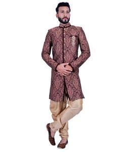 Lace Brocade Maroon Mens Sherwani