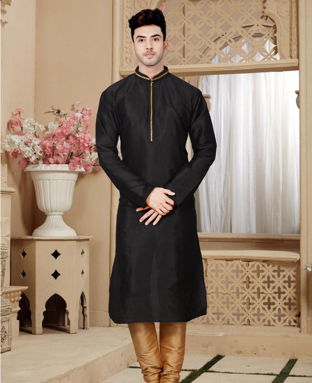 Plain Art Silk Black Kurta Pajama