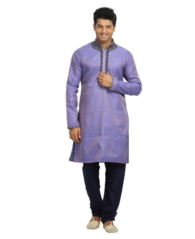 Brocade Patch Silk Lavender Mens Kurta Pajama
