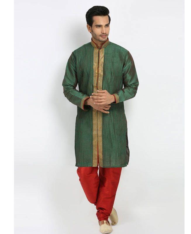 Lace Silk Green Mens Kurta Pajama
