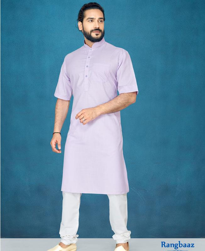 Plain Cotton Lavender Kurta Pajama