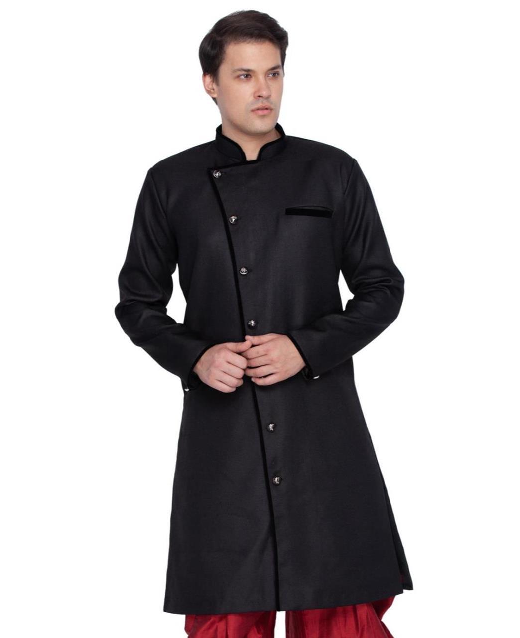 Plain Blended Cotton Black Kurta Pajama