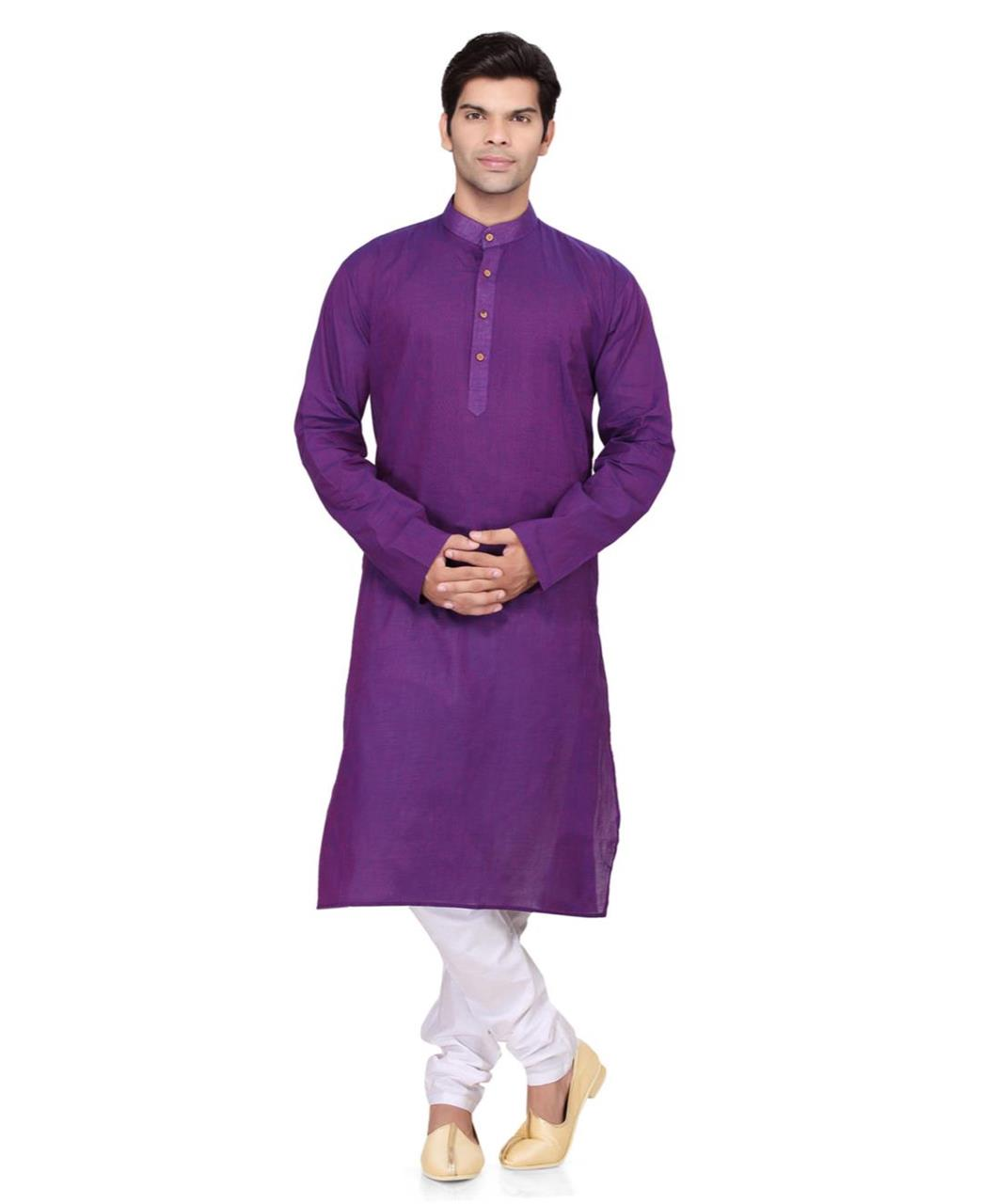 Plain Cotton Purple Kurta