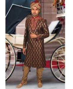 Embroidered Silk Maroon Sherwani