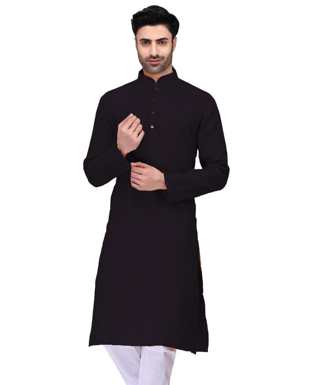 Plain Cambric Cotton Black Kurta Pajama