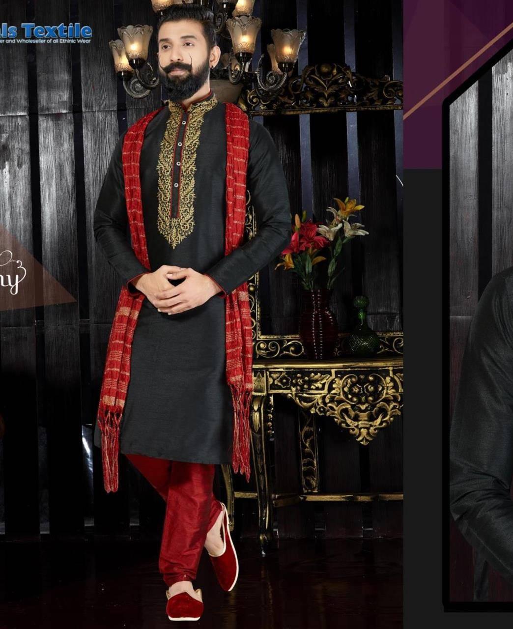 Embroidered Dupion Silk Black Sherwani