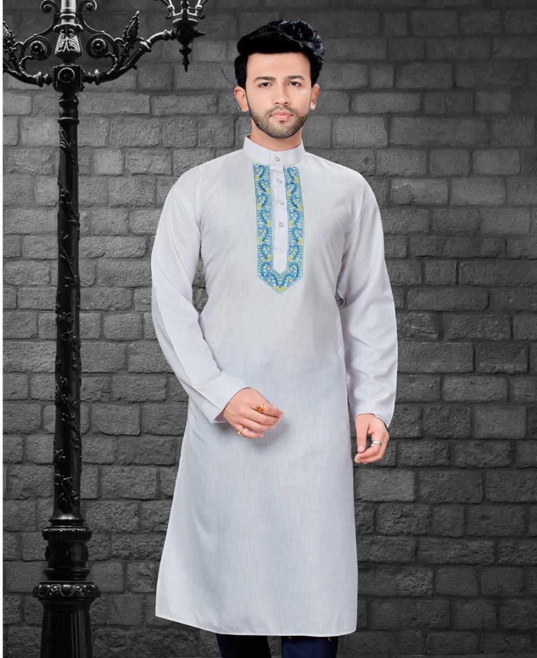 Embroiderd work Cotton Satin Offwhite Kurta Pajama