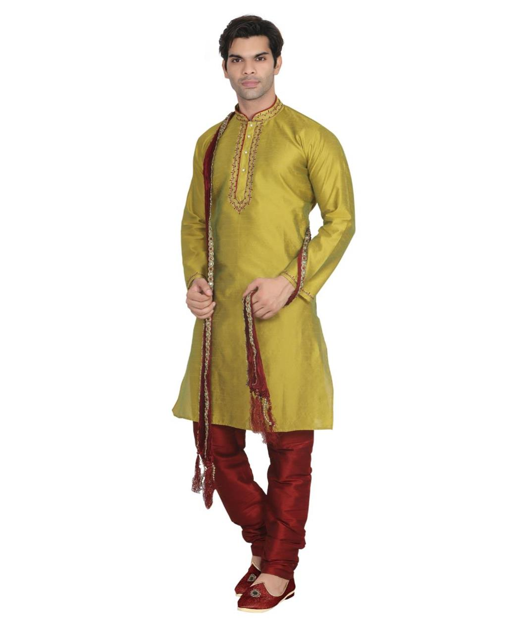 Plain Dupion Silk Gold Kurta