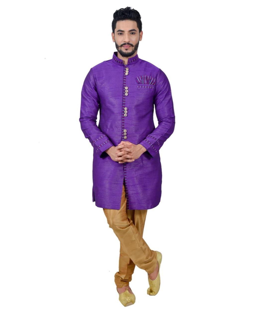 Printed Silk Violet Coats