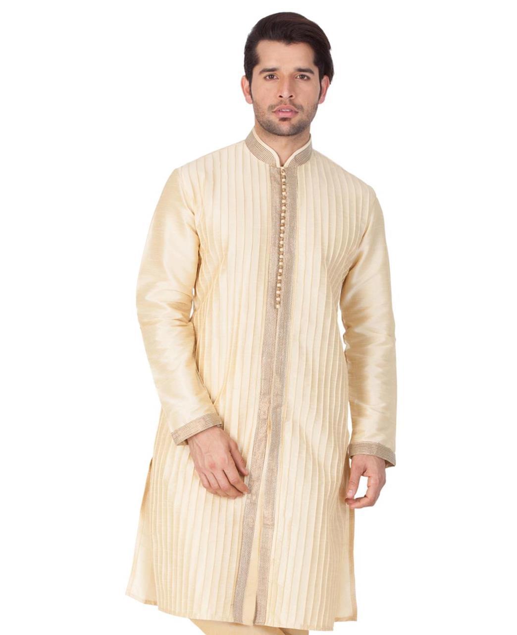 Plain Cotton Gold Kurta Pajama