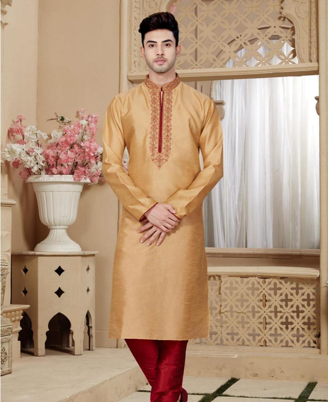 Plain Art Silk Gold Kurta Pajama