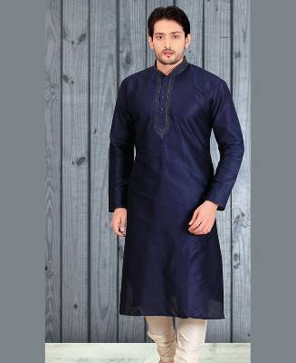 Butta Work Dupion Silk Blue Mens Kurta Pajama
