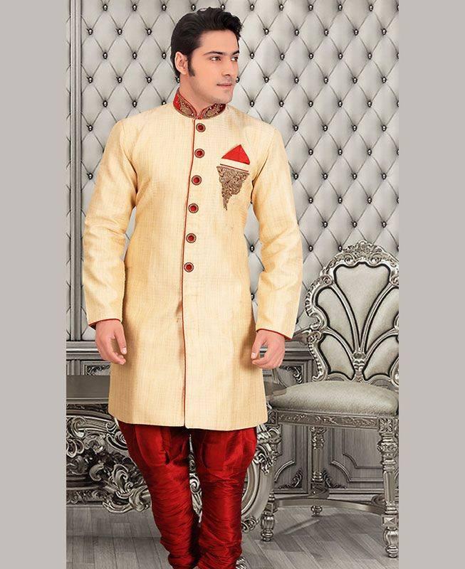 Beads Dupion Silk Cream Mens Sherwani