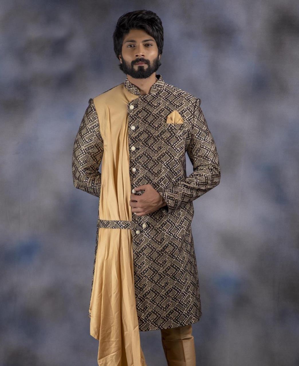 Printed Jacquard Beige Kurta Pajama