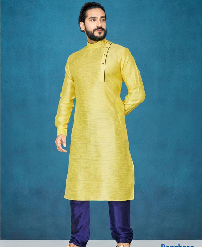 Plain Silk Yellow Kurta Pajama