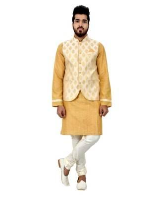 Printed Cotton Gold Waist Coats