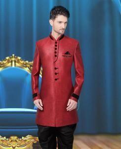 Plain Jute Silk Maroon Sherwani