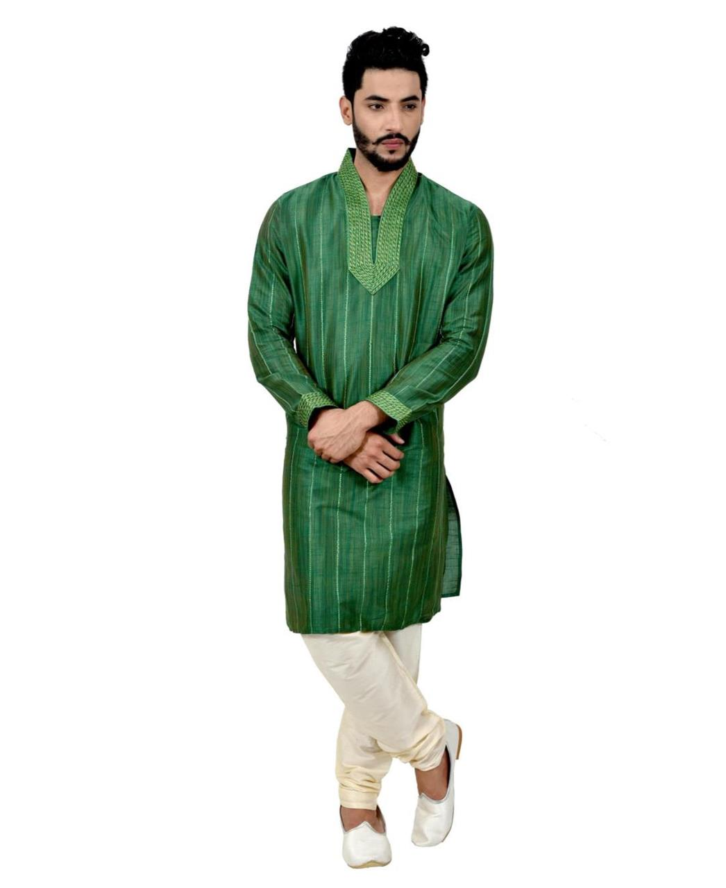 Cord Work Silk Green Kurta