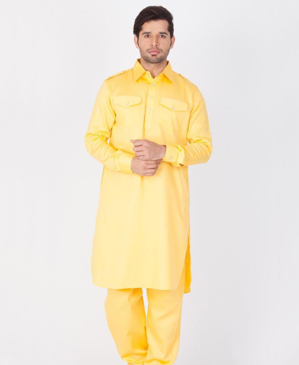 Button Work Cotton Yellow Kurta Pajama