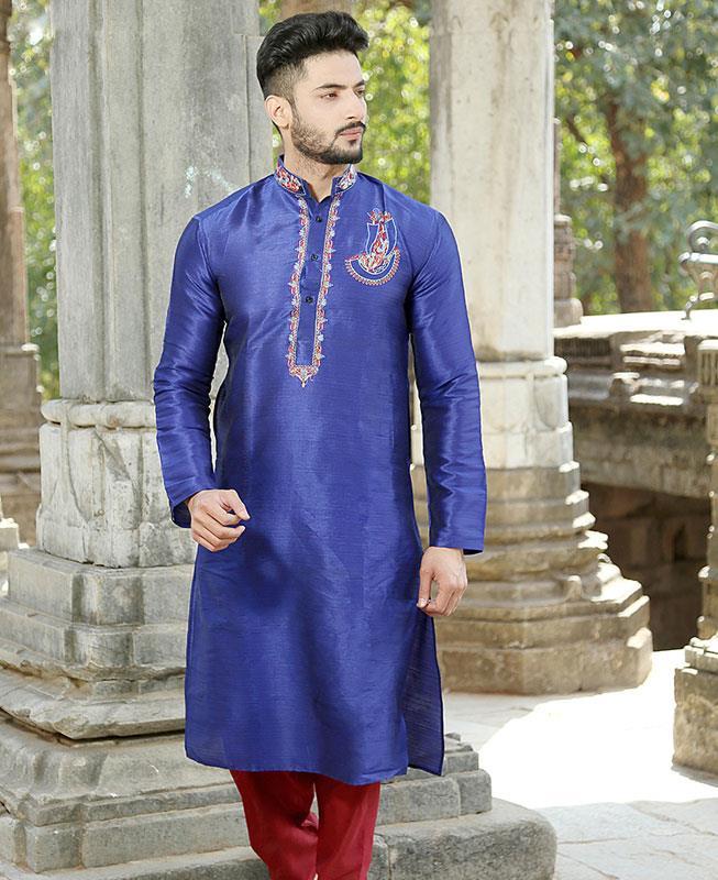 Embroidered Silk Blue Kurta Pajama