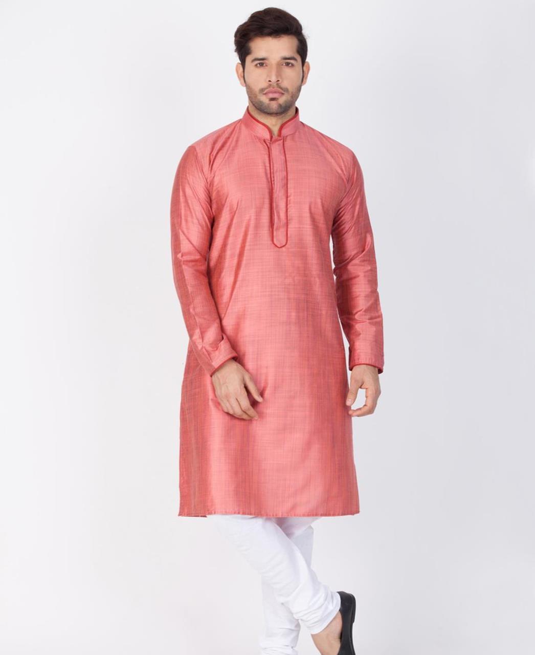 Plain Cotton Pink Kurta Pajama