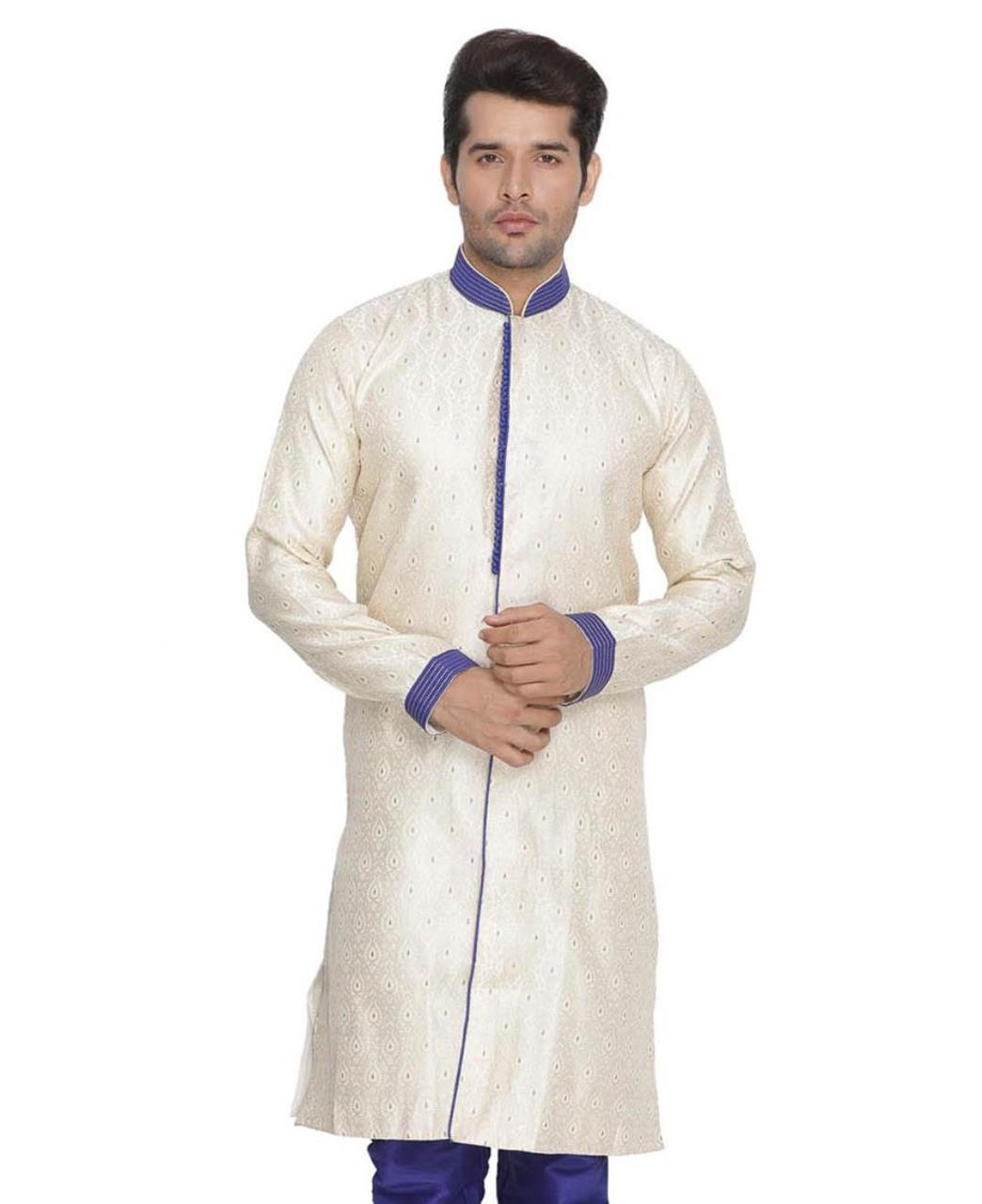 Printed Cotton Cream Kurta Pajama