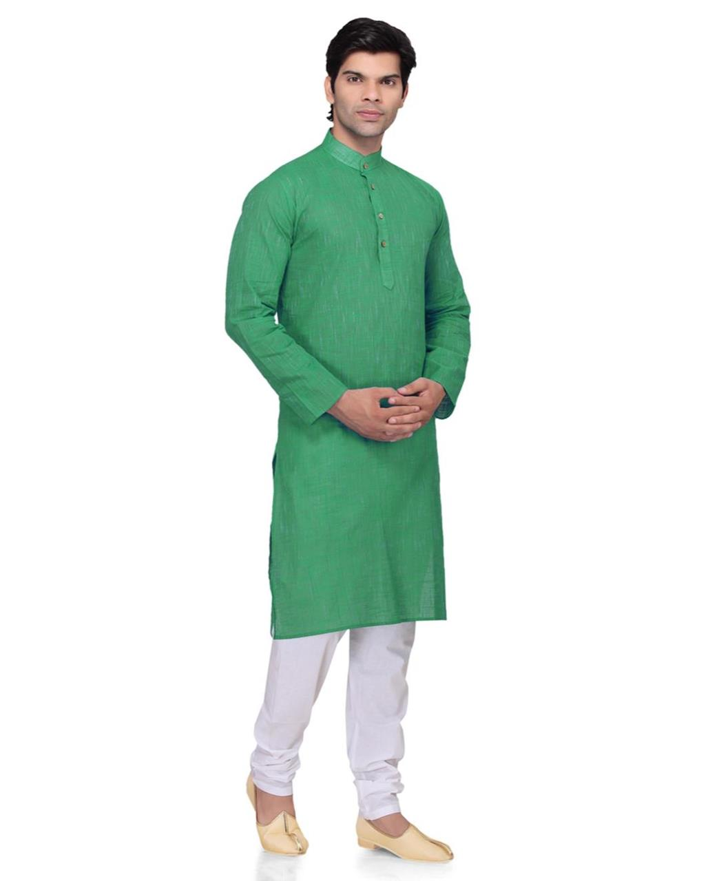Plain Cotton Green Kurta