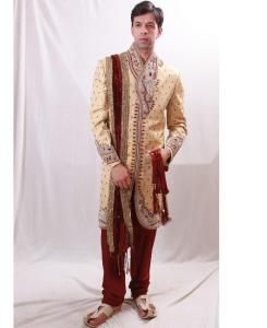 Embroidered Silk Yellow Sherwani