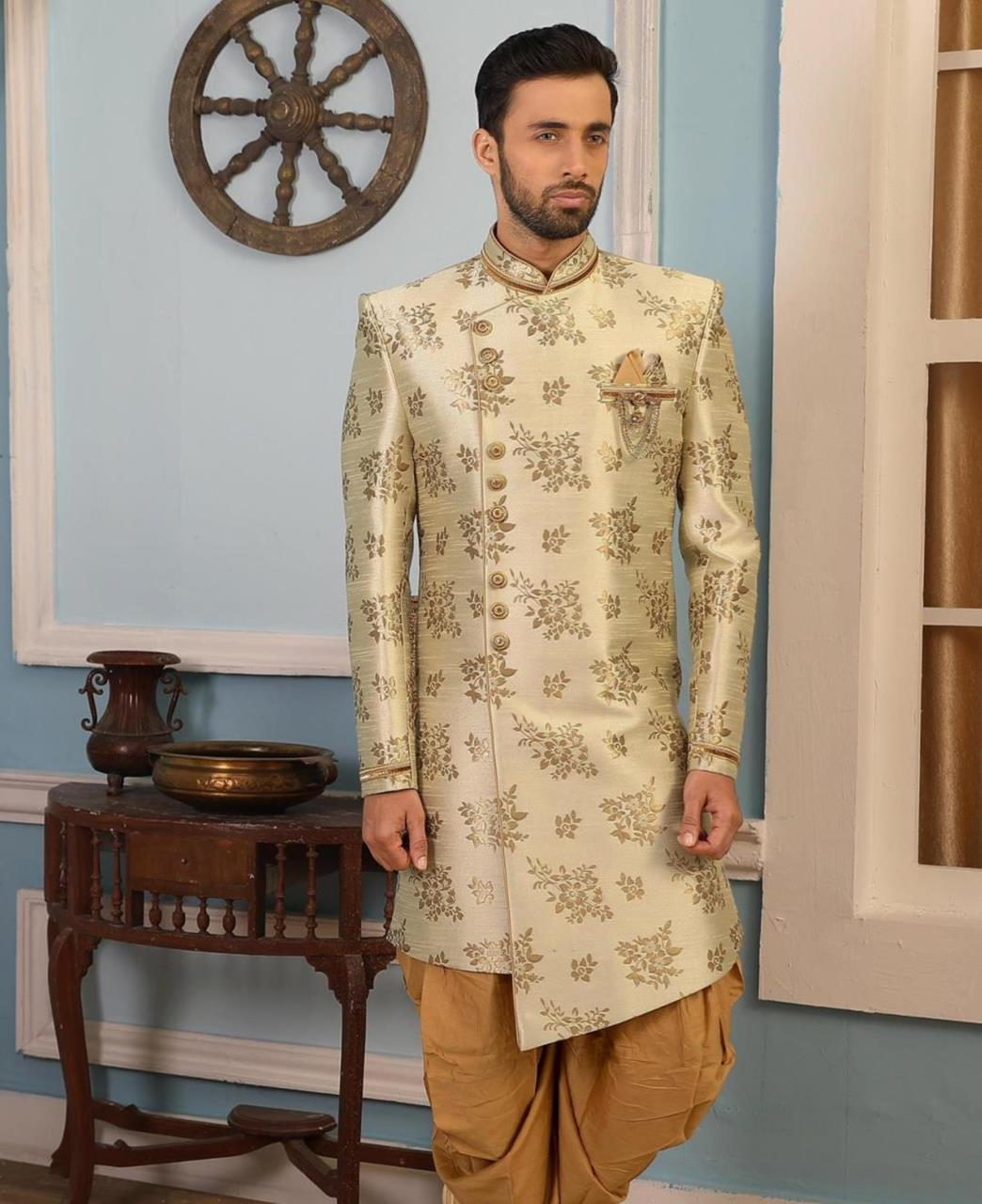 Printed Brocade Cream Kurta Pajama